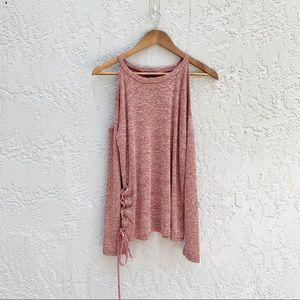 Fashion Nova Cold Shoulder Red Marled Sweater sz L